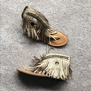 Beige/Tan fringe zip up sandals - new